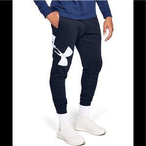 New Under Armour UA Rival Fleece Logo Joggers L XL